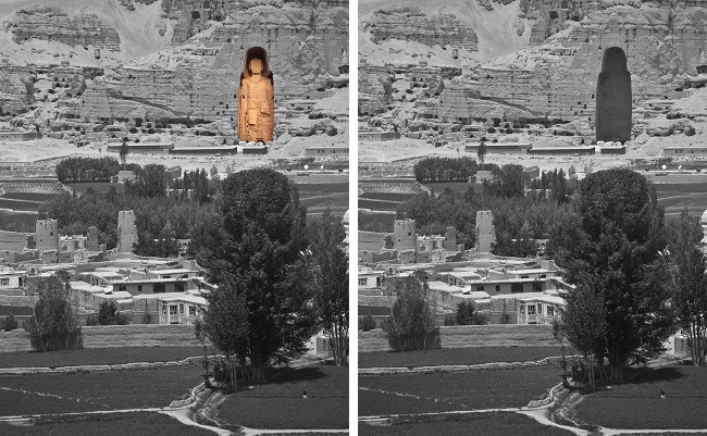 "BAMYAN PROVINCE, Afghanistan - The cavity where the largest of the Buddhas of Bamiyan statues, known to locals as the ""Father Buddha"", used to stand towers above the Bamyan valley, June 16, 2012. The monumental statues were built in 507 and 554 AD, and were the largest statues of standing Buddha on Earth until the Taliban dynamited them in 2001. (U.S. Army photo by Sgt. Ken Scar, 7th Mobile Public Affairs Detachment)"