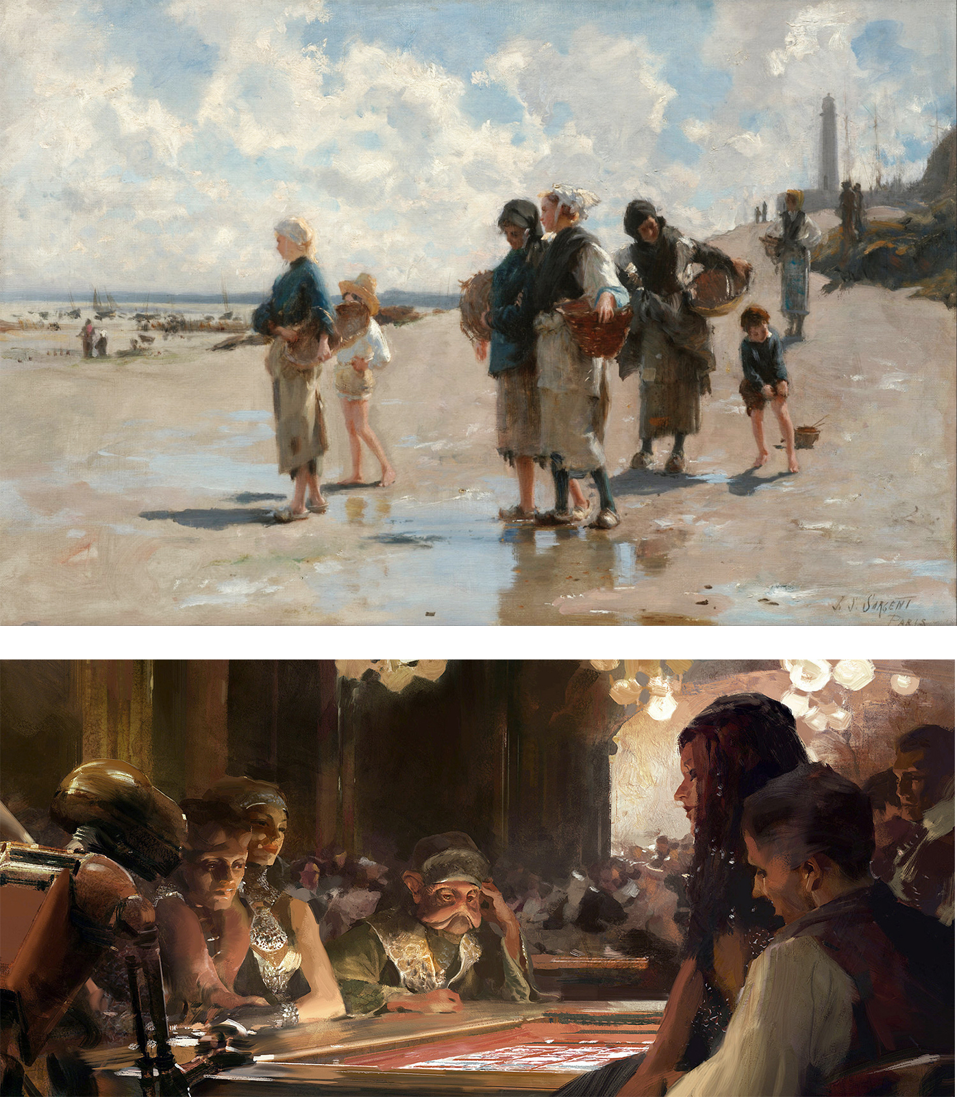 'The Oyster Gatherers of Cancale', by John Singer Sargent and a conceptual art image created by Jaime Jones for the film Star Wars: Episode VIII – The Last Jedi.I recently met Jaime Jones, a digital artist working in the film and video game industry
